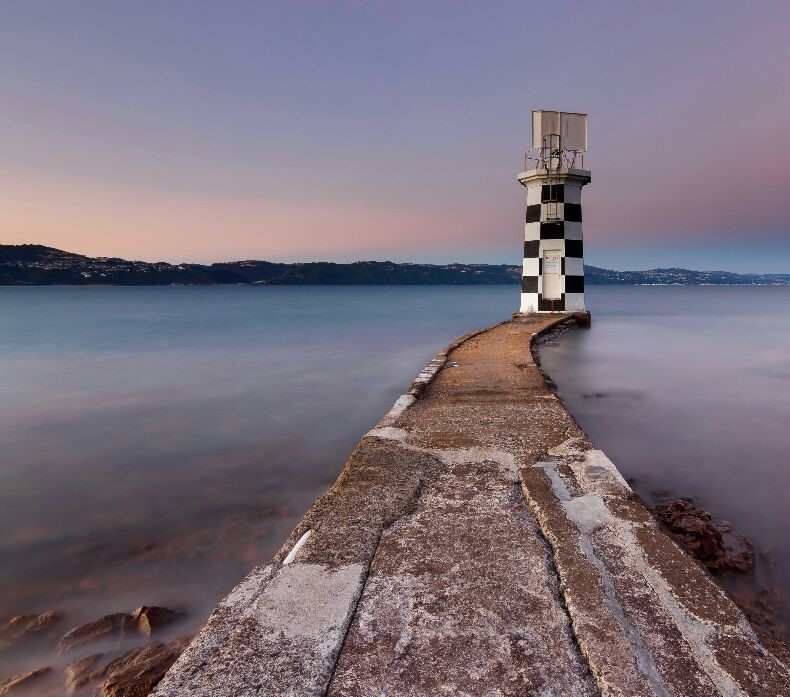 """""""Point Halswell"""" Long Exposure of Halswell Lighthouse on the Coast of Wellington. By Vandy Pollard."""