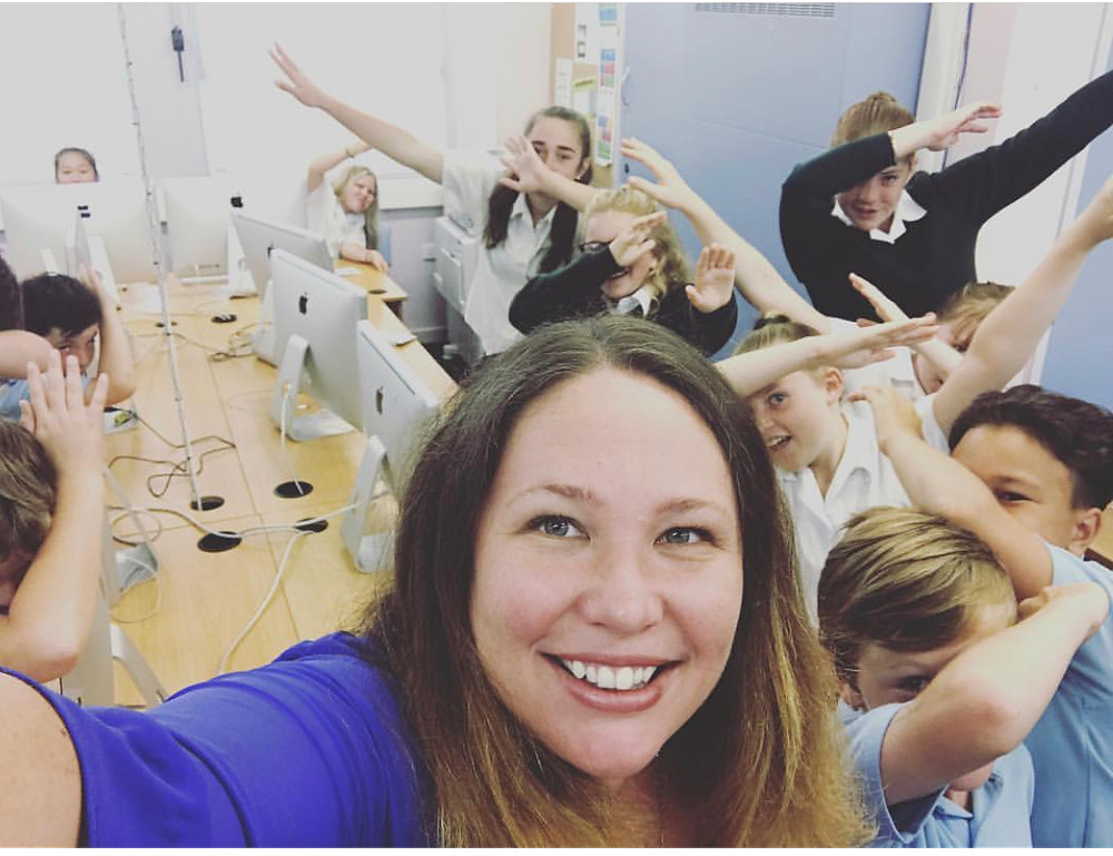 Fairlie Atkinson with her students