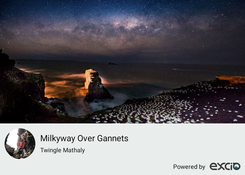 """Milky way setting over Muriwai Gannet Colony, Auckland Muriwai."""