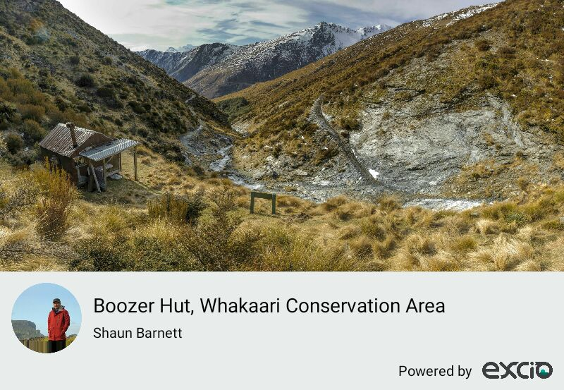 Boozer Hut is one of several historic huts that used to shelter miners working the sheelite mines of the Richardson Mountains, near Glenorchy in Otago. The miners were known for their hard work and hard drinking. Mining ended some decades ago, and since then several of the huts have been restored. The surrounding mountains are now protected as part of the Whakaari Conservation Area.
