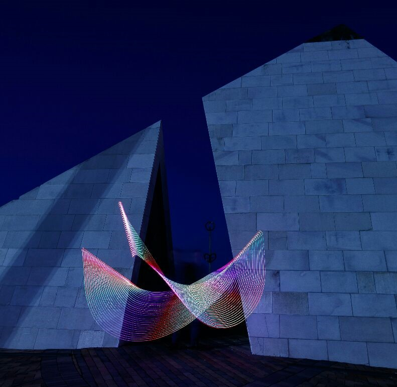 """Light Painting at Civic Square"" The pyramid sculpture 'Te Aho a Maui' is in the background of this image. By Vandy Pollard."