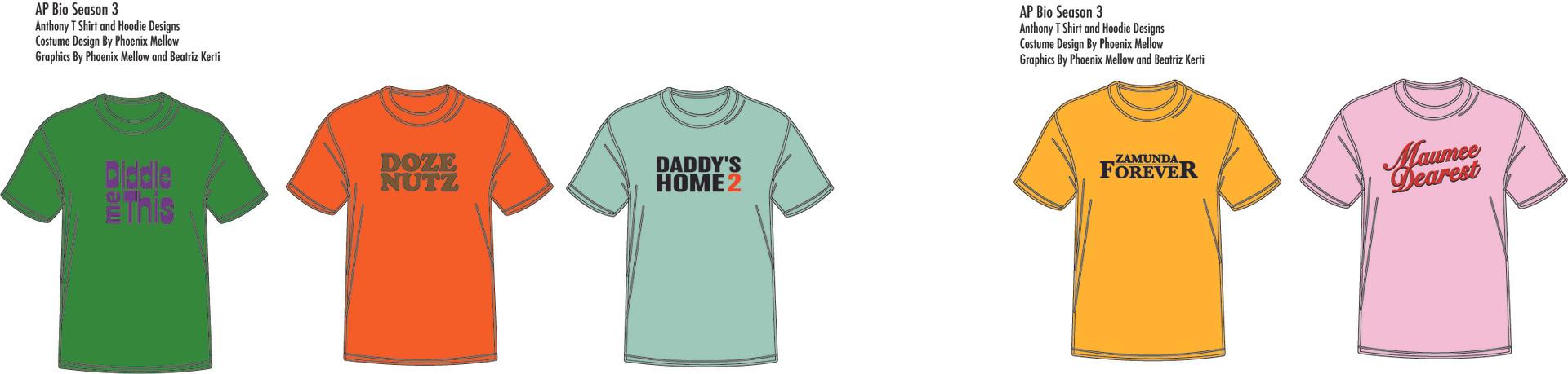 AP Bio: Episode 301, 302, 303, 304, 306 Anthony T Shirts Costume Design By Phoenix Mellow Illustration by Phoenix Mellow and Beatriz Kerti