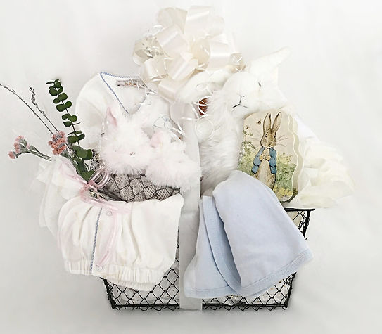 Baby Boy gift basket arrangemet with blanket, plush bunny, story book, gown and booties