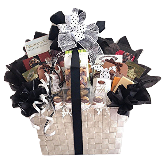 Gourmet Basket of snacks, chocolates and goodies for a group.