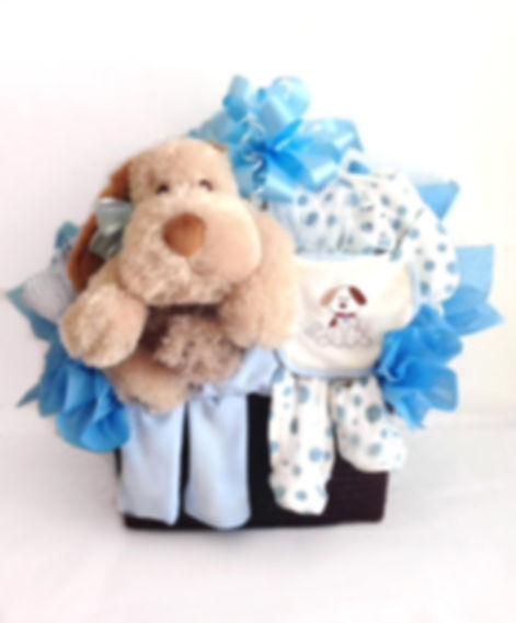 Baby boy gift basket filled with clothing,  plush puppy, blanket and more