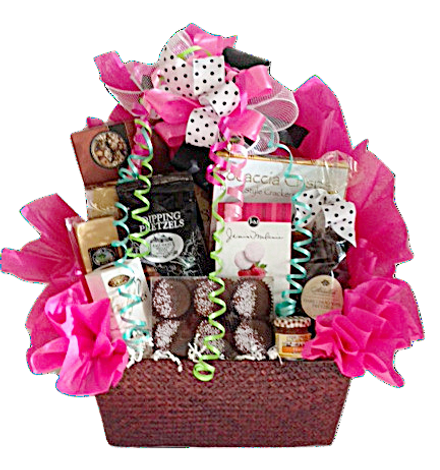 Gourmet food gift basket arrangement