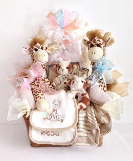 Twins baby basket with giraffe themed gift items