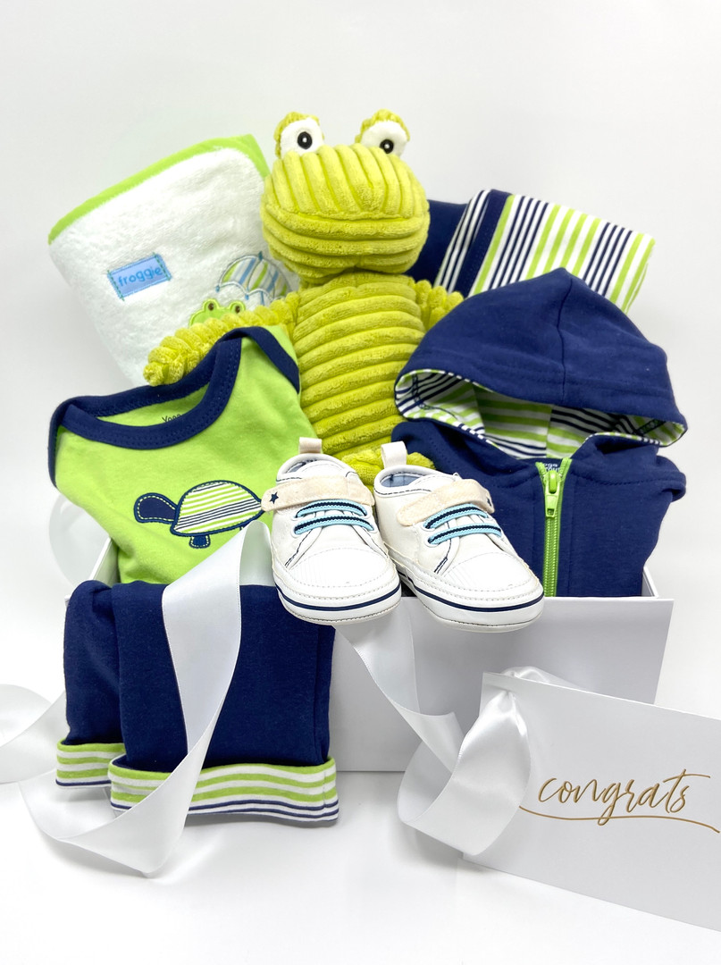 Upscale clothing, atheltic shoes, plush turtle, cotton hood set, thooded towel and blanket