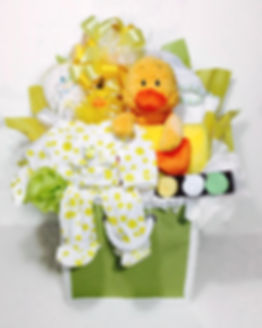 Yellow Duck Lime Green Storage gift arrangment