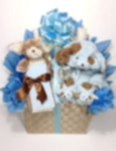 Baby Boy Gift Basket with plush puppy, coat bootes and blankets for new baby
