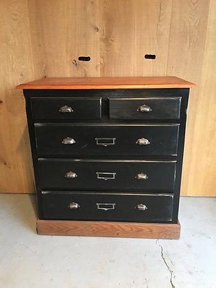 Ancien meuble de métier d'atelier 5 tiroirs