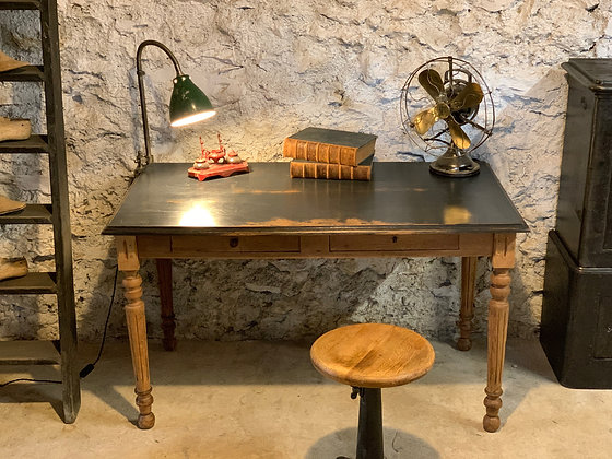 Table de ferme bureau en chêne patiné