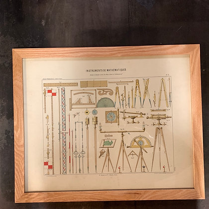 """Lithographie """"Instruments de mathématiques"""""""