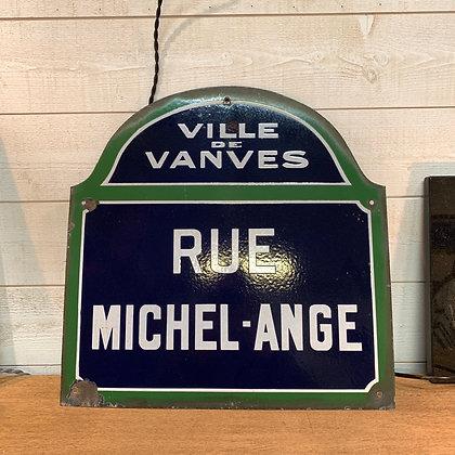 """Ancienne plaque de rue """"Michel Ange"""""""