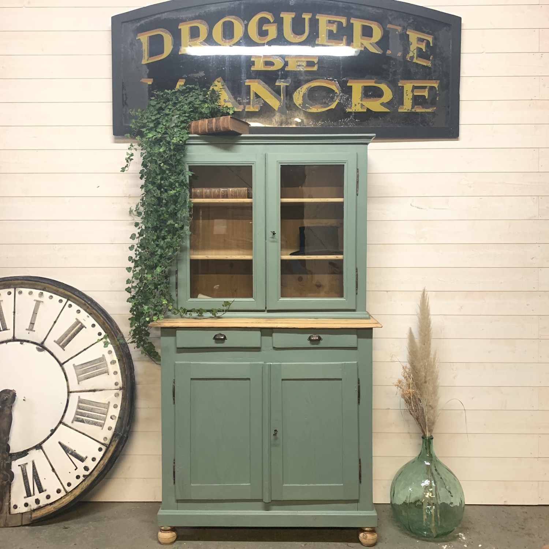 vaisselier vitrine ancienne vert celadon