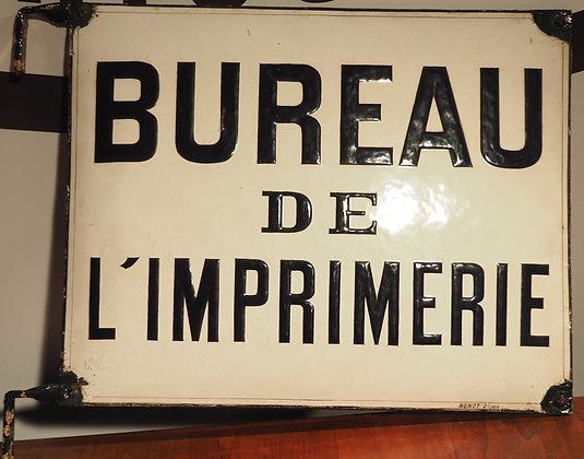 Plaque émaillée Bureau de l'imprimerie