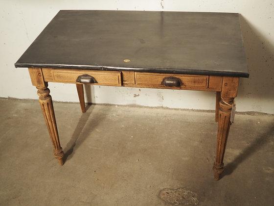 Table de tapissier bois et zinc 1900