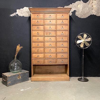 Ancien meuble à clapet de notaire 1930 en chêne brut