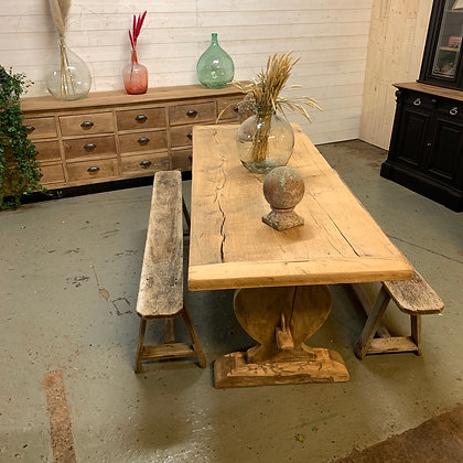 Table de ferme pied monastere en chêne brut