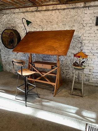 Ancienne table à dessin italienne Sacchi cira 1930