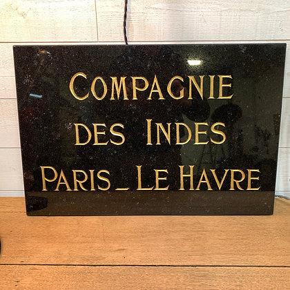 Plaque en marbre gravée Compagnie des Indes Paris Le Havre