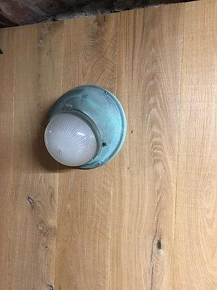 Applique holophane cuivre et verre prismatique 1940