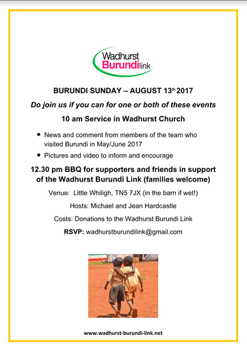 Burundi Sunday - August 13th at Wadhurst Church and BBQ After