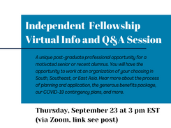 Virtual Info and Q&A Session on the Independent Fellowship