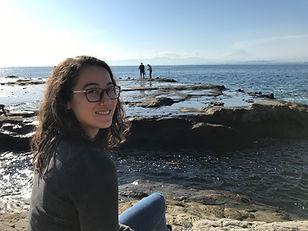 Sara at Enoshima with Mt Fuji in the bac