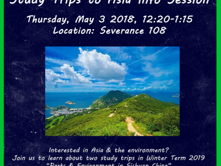 Info Session on Winter Term 2019 Trips to Asia
