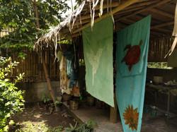 batik textiles drying