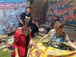 Mr. Silk Center, driver, Teresa Tippens and mom. Mr. Silk's batik