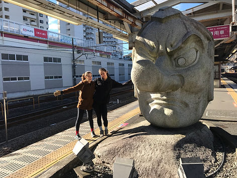 Sara and Emily at Takao Station with Ten