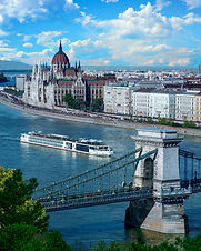 Cruise ship on the Danube River with a v