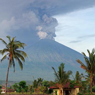 Eruption of Mt. Agung volcano in east Ba