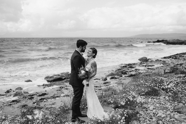 bride and groom on Scottish beach