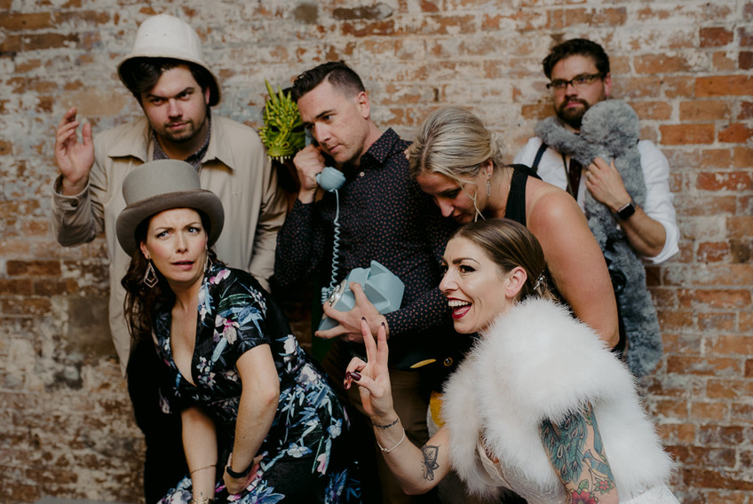 wedding guests in cool Photo Booth