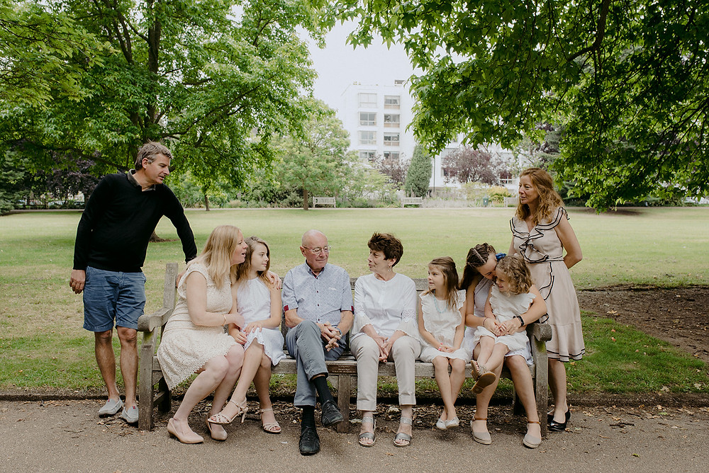 group portrait on park bench