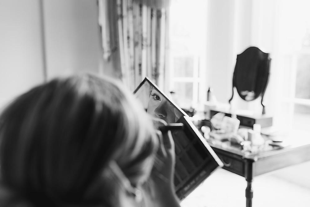 wedding morning make up photo in mirror
