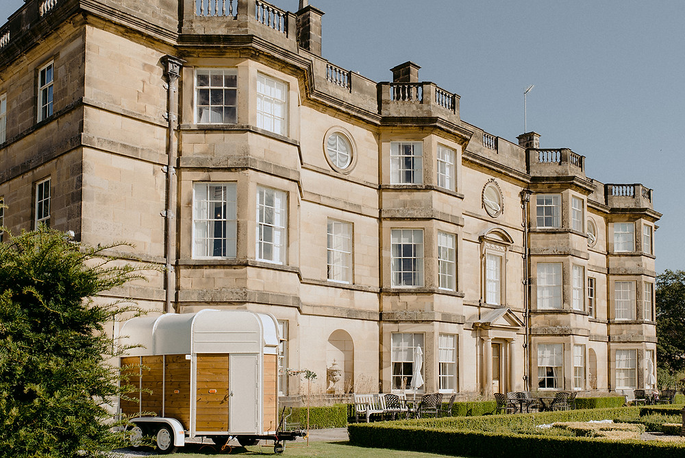 manor house wedding with mobile bar outside