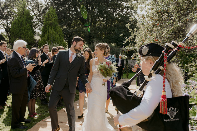 outdoor wedding with bagpipes