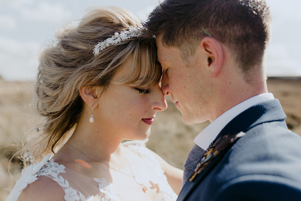 close up bride and groom just married