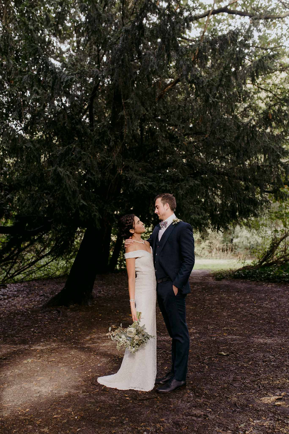 outdoor micro wedding woodland