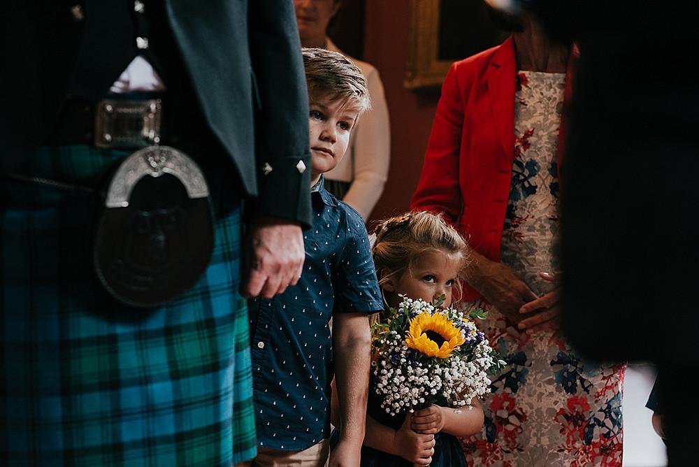 kilt and sunflowers wedding