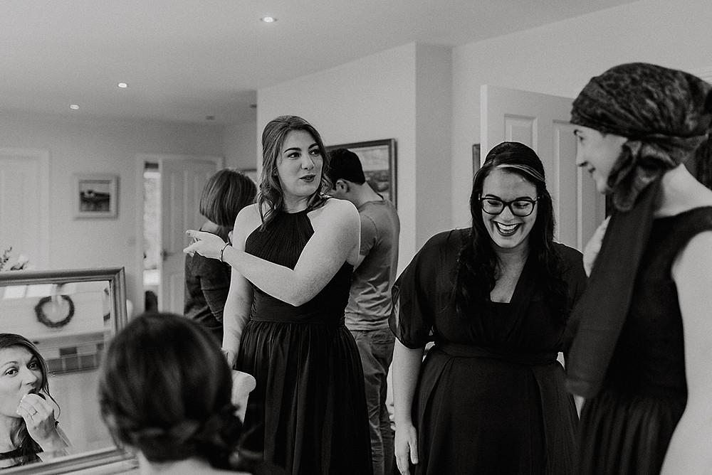 bridal prep black and white