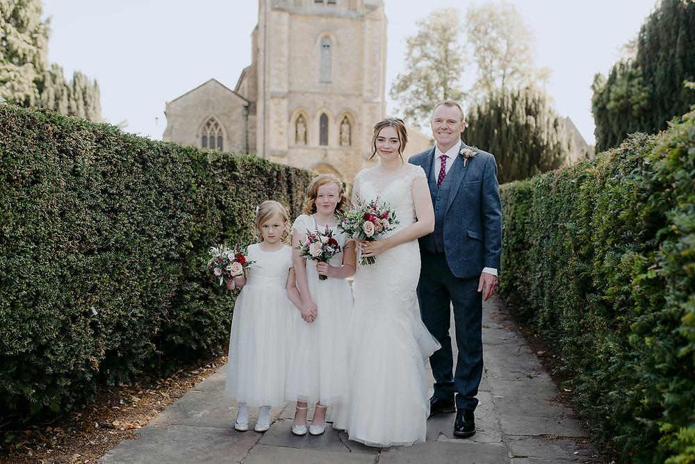 family photo before wedding ceremony