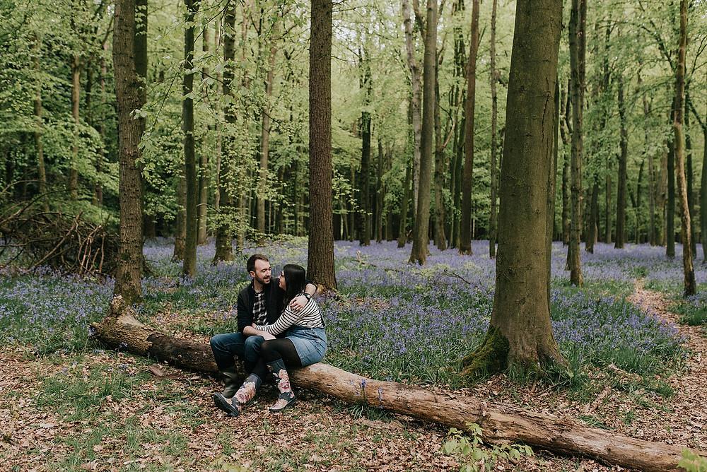 couple photoshoot in bluebell woodland