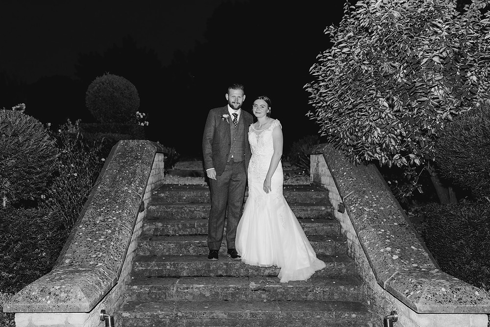 steps at sulgrave manor bride and groom at night