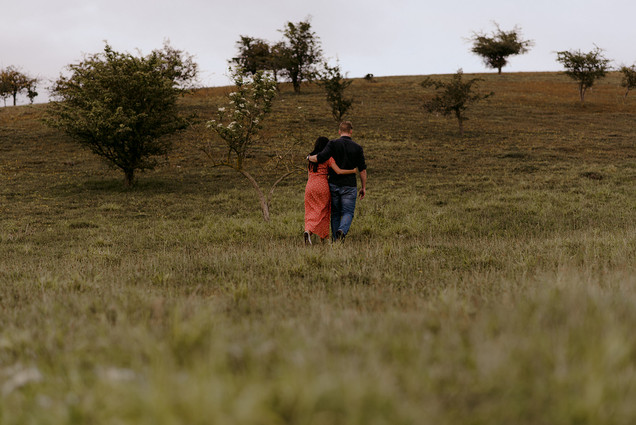 wide shot of couple in nature