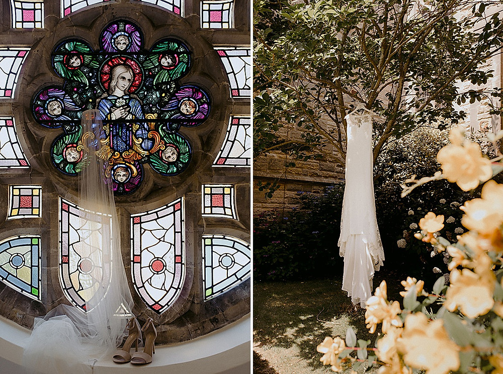 bridal dress in tree and veil on stained glass window